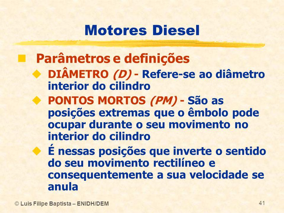 © Luis Filipe Baptista – ENIDH/DEM 41 Motores Diesel  Parâmetros e definições  DIÂMETRO (D) - Refere ‑ se ao diâmetro interior do cilindro  PONTOS