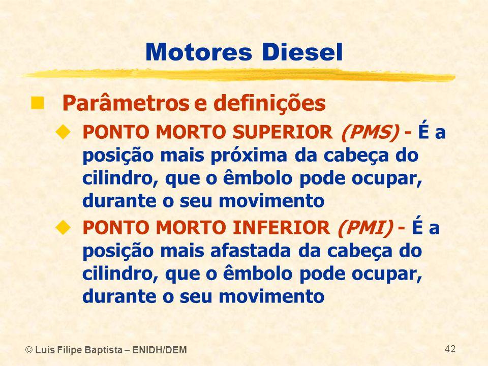 © Luis Filipe Baptista – ENIDH/DEM 42 Motores Diesel  Parâmetros e definições  PONTO MORTO SUPERIOR (PMS) - É a posição mais próxima da cabeça do ci