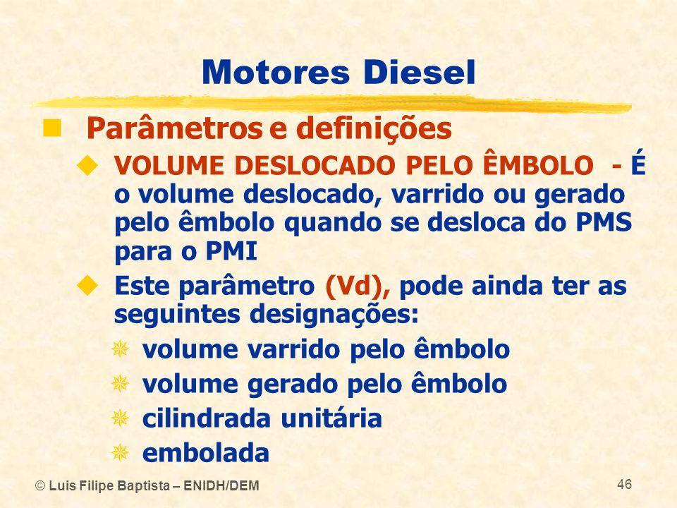 © Luis Filipe Baptista – ENIDH/DEM 46 Motores Diesel  Parâmetros e definições  VOLUME DESLOCADO PELO ÊMBOLO - É o volume deslocado, varrido ou gerad