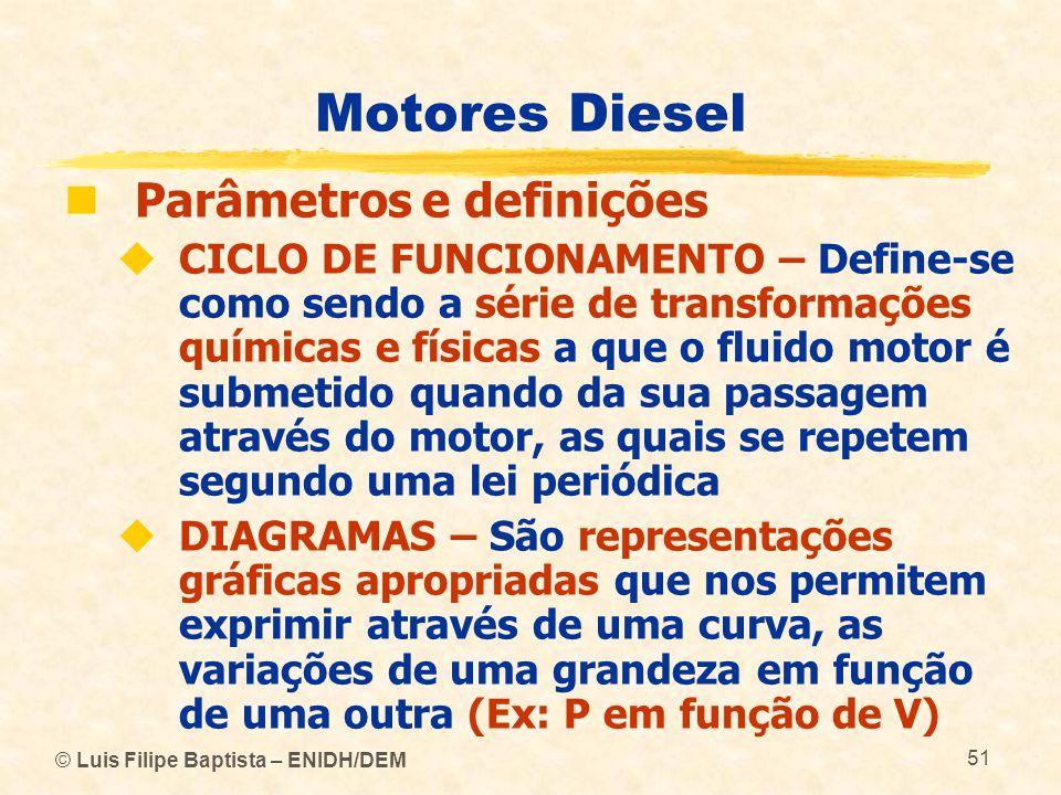 © Luis Filipe Baptista – ENIDH/DEM 51 Motores Diesel  Parâmetros e definições  CICLO DE FUNCIONAMENTO – Define ‑ se como sendo a série de transforma