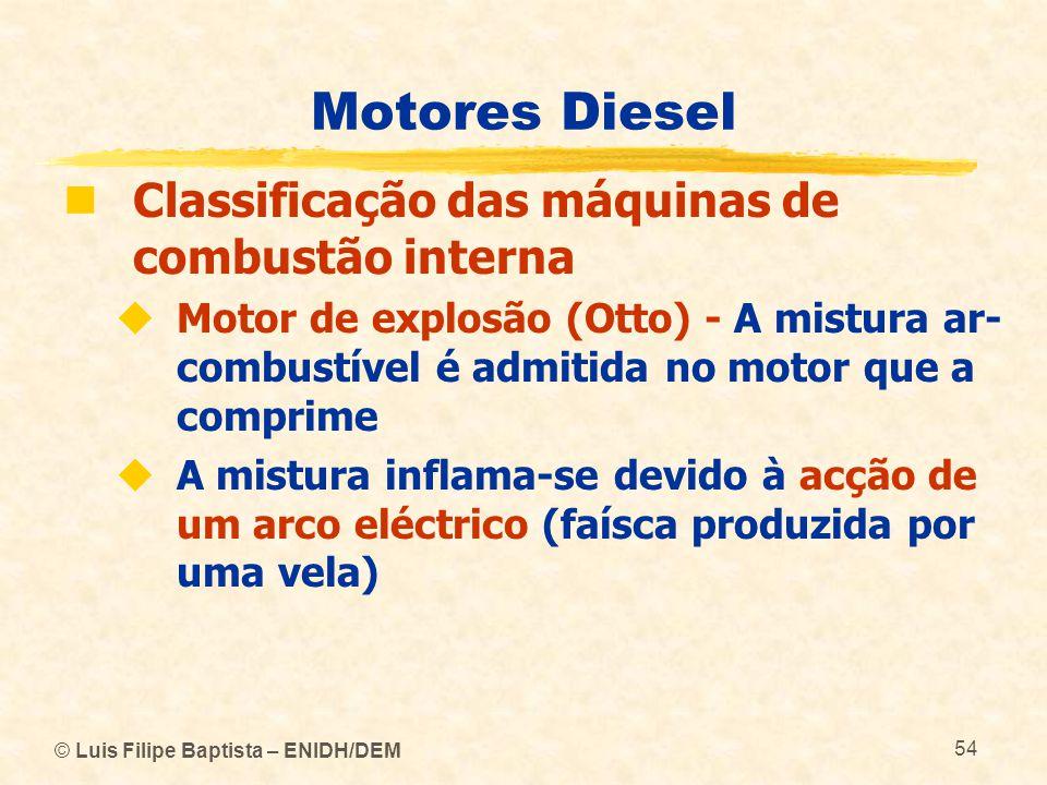 © Luis Filipe Baptista – ENIDH/DEM 54 Motores Diesel  Classificação das máquinas de combustão interna  Motor de explosão (Otto) - A mistura ar- comb