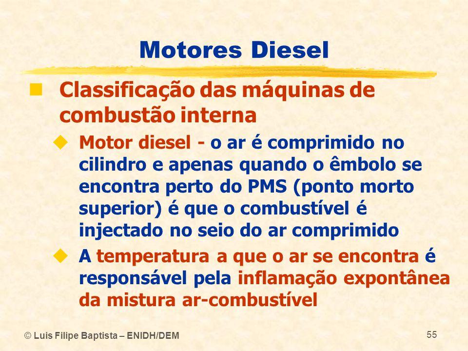 © Luis Filipe Baptista – ENIDH/DEM 55 Motores Diesel  Classificação das máquinas de combustão interna  Motor diesel - o ar é comprimido no cilindro
