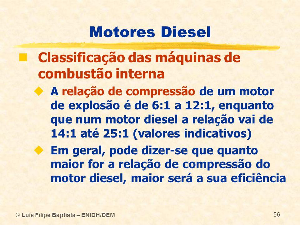 © Luis Filipe Baptista – ENIDH/DEM 56 Motores Diesel  Classificação das máquinas de combustão interna  A relação de compressão de um motor de explos