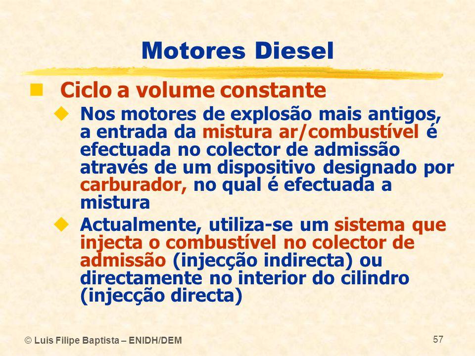 © Luis Filipe Baptista – ENIDH/DEM 57 Motores Diesel  Ciclo a volume constante  Nos motores de explosão mais antigos, a entrada da mistura ar/combus