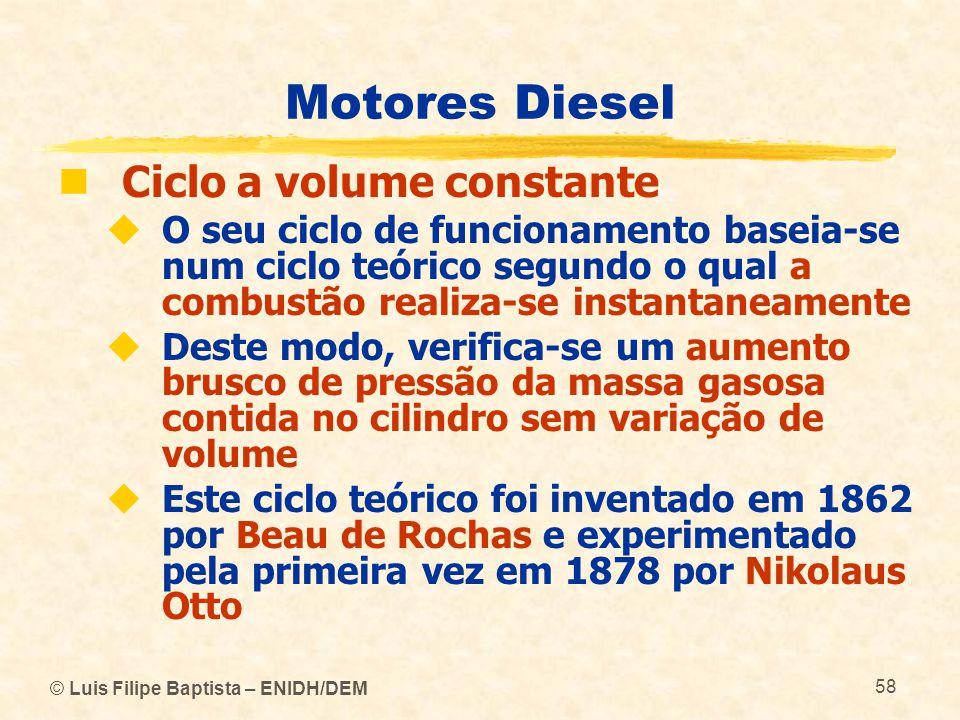 © Luis Filipe Baptista – ENIDH/DEM 58 Motores Diesel  Ciclo a volume constante  O seu ciclo de funcionamento baseia-se num ciclo teórico segundo o q