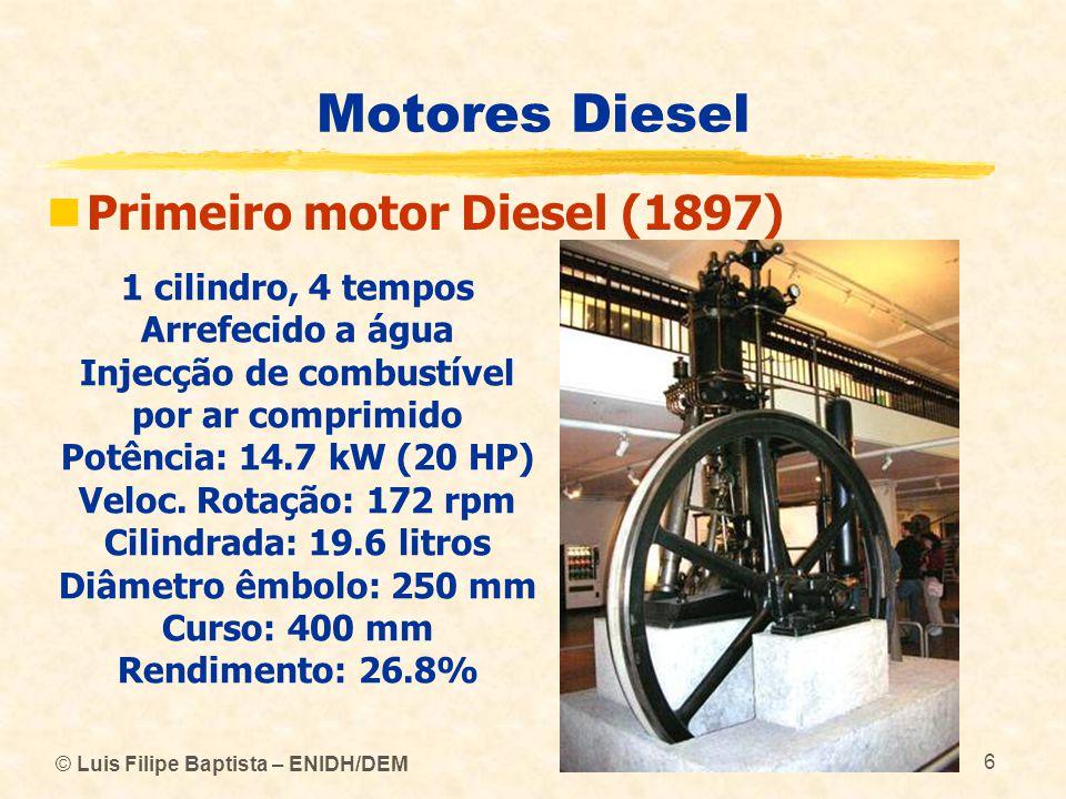 © Luis Filipe Baptista – ENIDH/DEM 6 Motores Diesel  Primeiro motor Diesel (1897) 1 cilindro, 4 tempos Arrefecido a água Injecção de combustível por