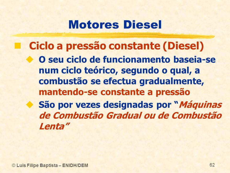 © Luis Filipe Baptista – ENIDH/DEM 62 Motores Diesel  Ciclo a pressão constante (Diesel)  O seu ciclo de funcionamento baseia-se num ciclo teórico,