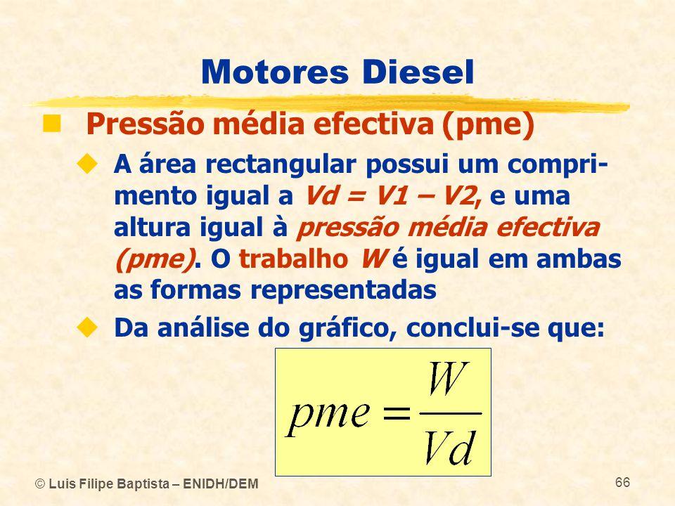 © Luis Filipe Baptista – ENIDH/DEM 66 Motores Diesel  Pressão média efectiva (pme)  A área rectangular possui um compri- mento igual a Vd = V1 – V2,