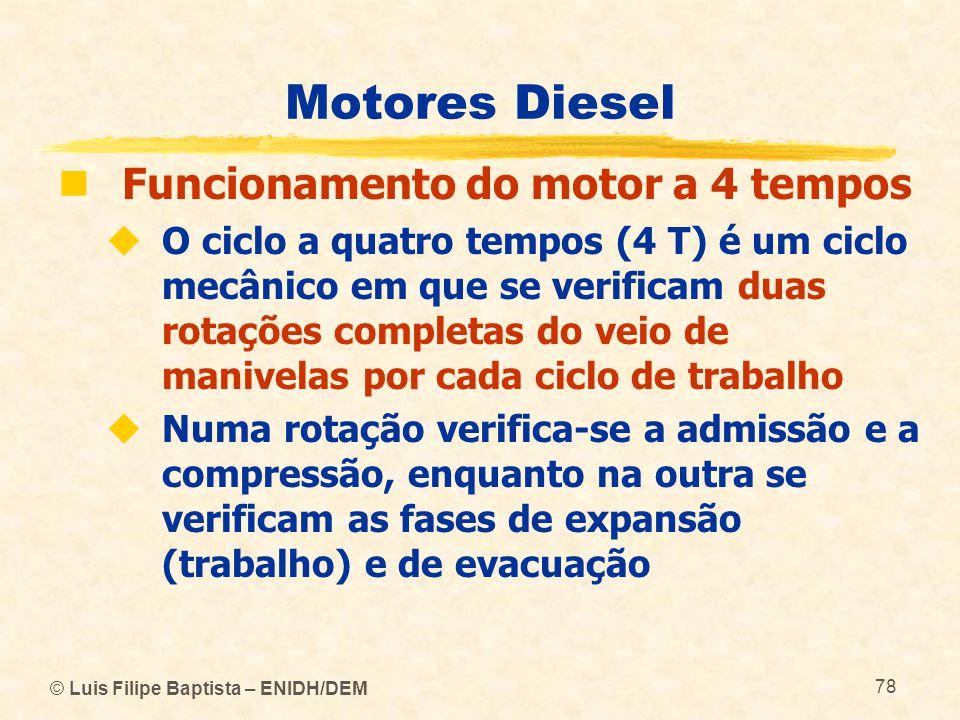 © Luis Filipe Baptista – ENIDH/DEM 78 Motores Diesel  Funcionamento do motor a 4 tempos  O ciclo a quatro tempos (4 T) é um ciclo mecânico em que se