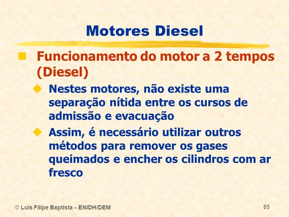 © Luis Filipe Baptista – ENIDH/DEM 85 Motores Diesel  Funcionamento do motor a 2 tempos (Diesel)  Nestes motores, não existe uma separação nítida en