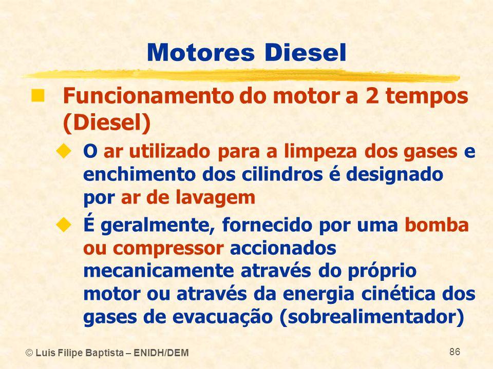© Luis Filipe Baptista – ENIDH/DEM 86 Motores Diesel  Funcionamento do motor a 2 tempos (Diesel)  O ar utilizado para a limpeza dos gases e enchimen