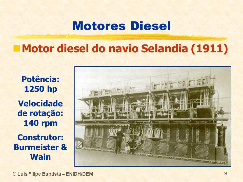 © Luis Filipe Baptista – ENIDH/DEM 9 Motores Diesel  Motor diesel do navio Selandia (1911) Potência: 1250 hp Velocidade de rotação: 140 rpm Construto