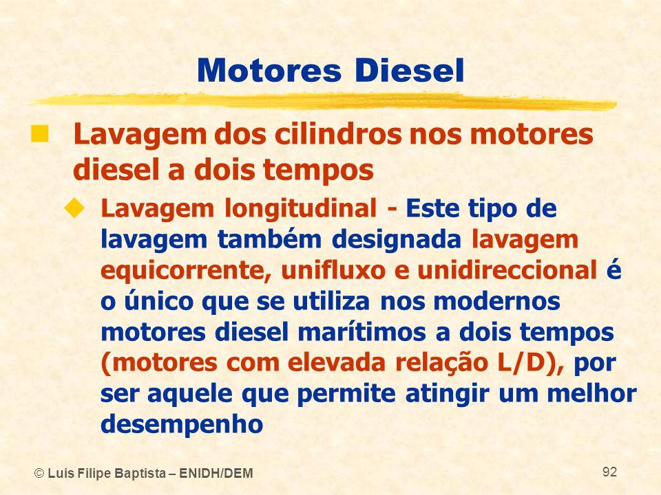 © Luis Filipe Baptista – ENIDH/DEM 92 Motores Diesel  Lavagem dos cilindros nos motores diesel a dois tempos  Lavagem longitudinal - Este tipo de la