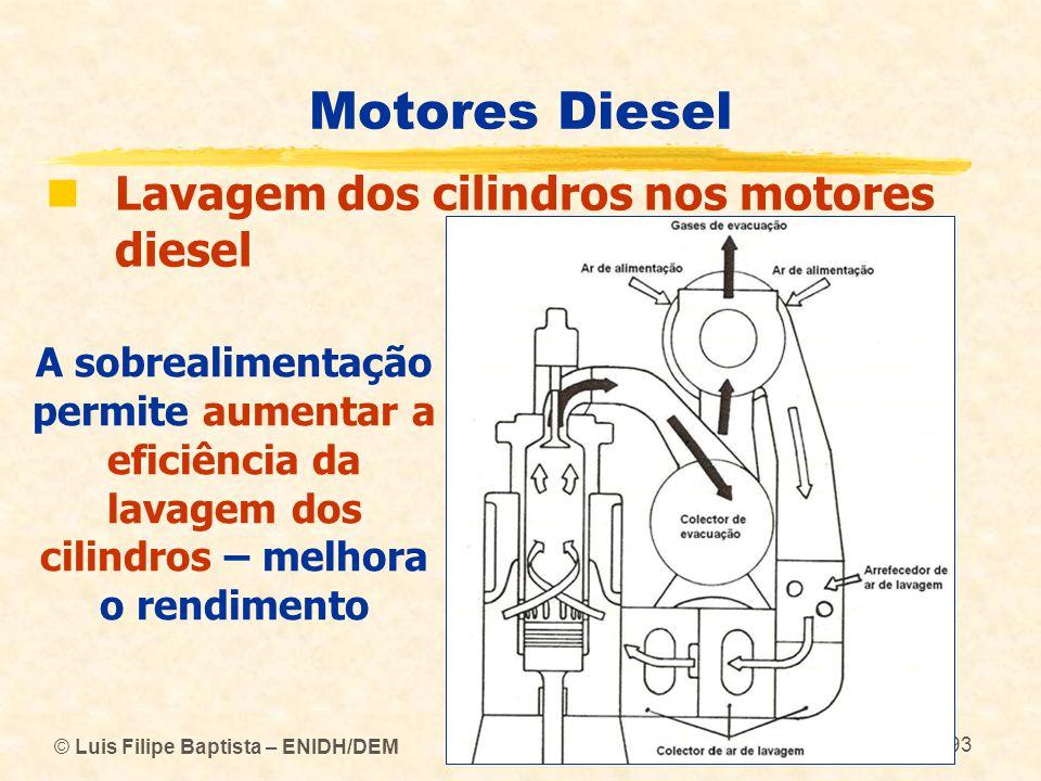 © Luis Filipe Baptista – ENIDH/DEM 93 Motores Diesel  Lavagem dos cilindros nos motores diesel A sobrealimentação permite aumentar a eficiência da la