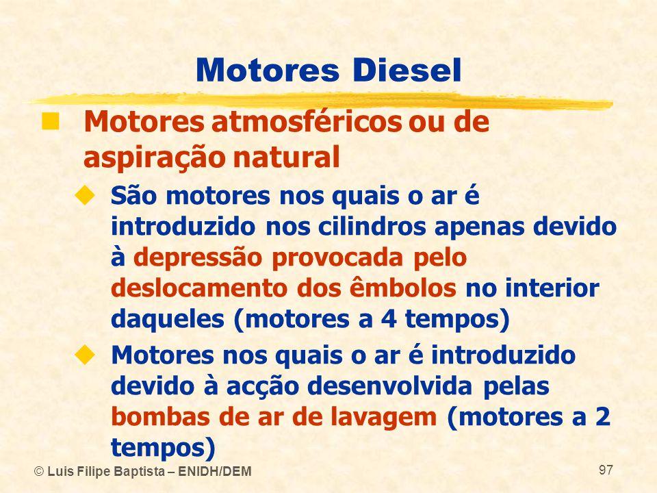 © Luis Filipe Baptista – ENIDH/DEM 97 Motores Diesel  Motores atmosféricos ou de aspiração natural  São motores nos quais o ar é introduzido nos cil