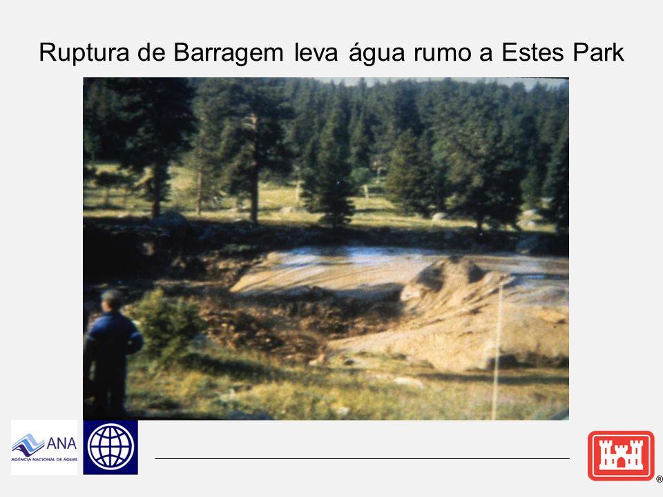 Rompimento/Galgamento da Barragem Cascade A Barragem rompeu: 7:42 da manhã (em torno de 2 hrs, 12 minutos após a ruptura da Barragem Lawn Lake.