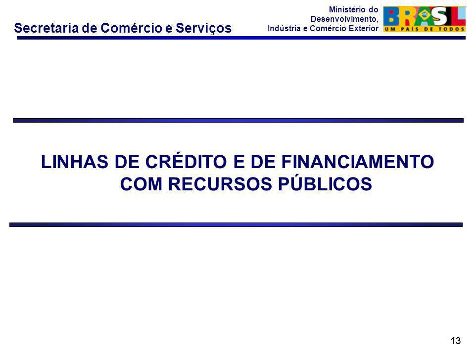 Secretaria de Comércio e Serviços Ministério do Desenvolvimento, Indústria e Comércio Exterior 13 LINHAS DE CRÉDITO E DE FINANCIAMENTO COM RECURSOS PÚ