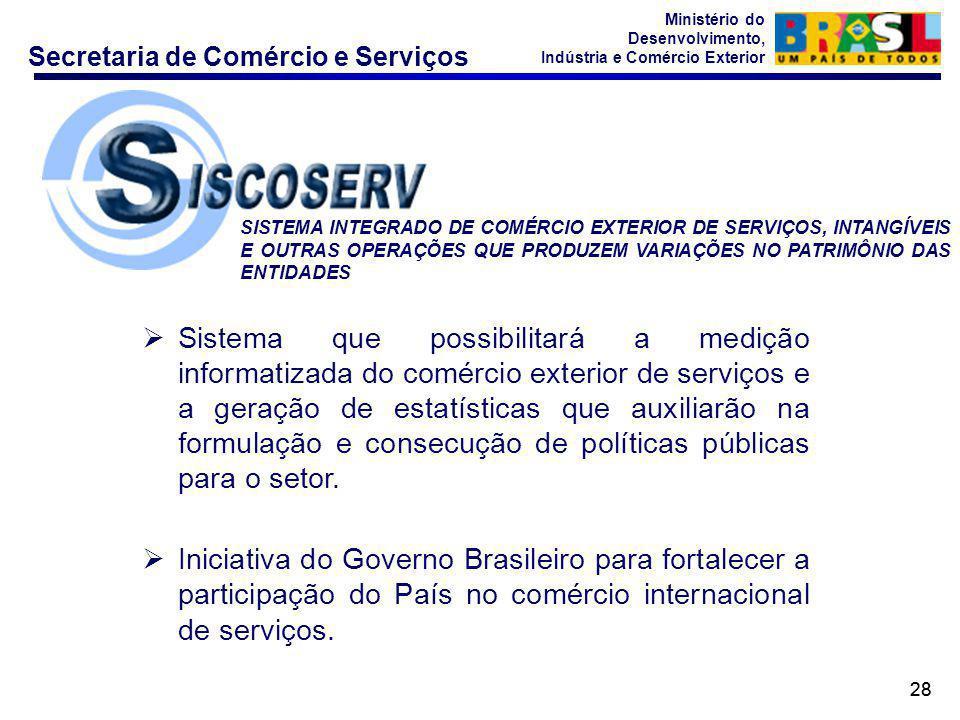 Secretaria de Comércio e Serviços Ministério do Desenvolvimento, Indústria e Comércio Exterior 28  Sistema que possibilitará a medição informatizada