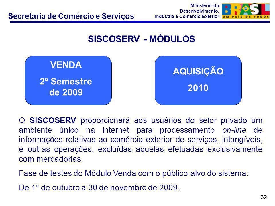 Secretaria de Comércio e Serviços Ministério do Desenvolvimento, Indústria e Comércio Exterior 32 SISCOSERV - MÓDULOS O SISCOSERV proporcionará aos us
