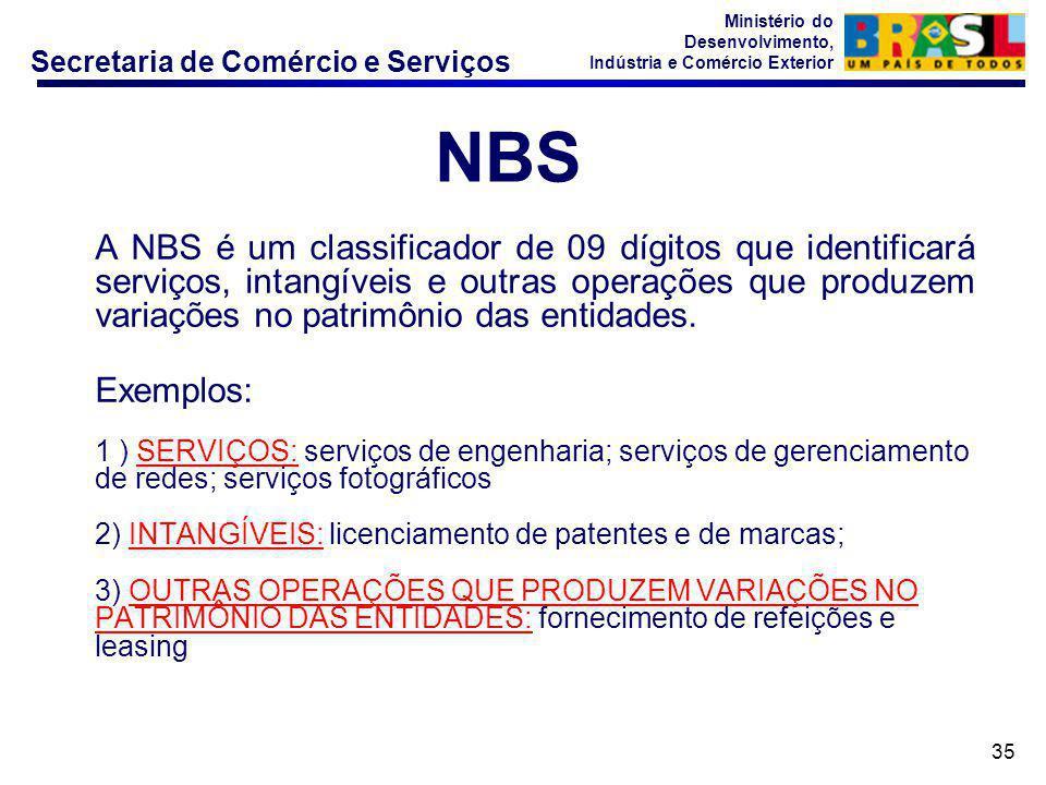 Secretaria de Comércio e Serviços Ministério do Desenvolvimento, Indústria e Comércio Exterior 35 A NBS é um classificador de 09 dígitos que identific