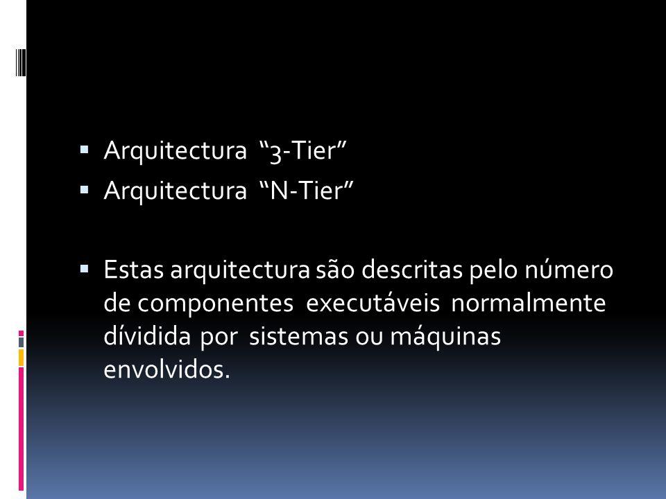  Arquitectura 3-Tier  Arquitectura N-Tier  Estas arquitectura são descritas pelo número de componentes executáveis normalmente dívidida por sistemas ou máquinas envolvidos.