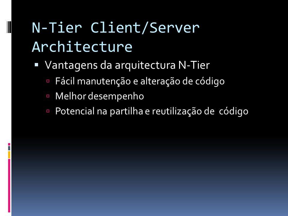 N-Tier Client/Server Architecture  Vantagens da arquitectura N-Tier  Fácil manutenção e alteração de código  Melhor desempenho  Potencial na partilha e reutilização de código