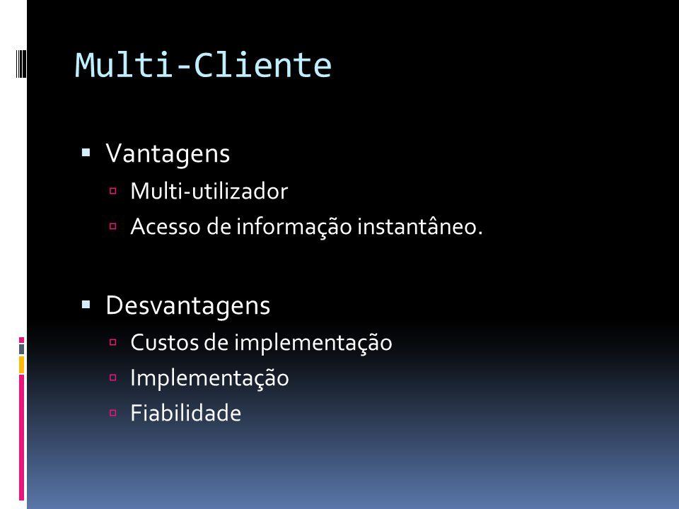 Multi-Cliente  Vantagens  Multi-utilizador  Acesso de informação instantâneo.