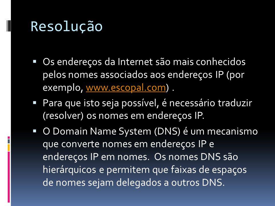 Resolução  Os endereços da Internet são mais conhecidos pelos nomes associados aos endereços IP (por exemplo, www.escopal.com).www.escopal.com  Para que isto seja possível, é necessário traduzir (resolver) os nomes em endereços IP.