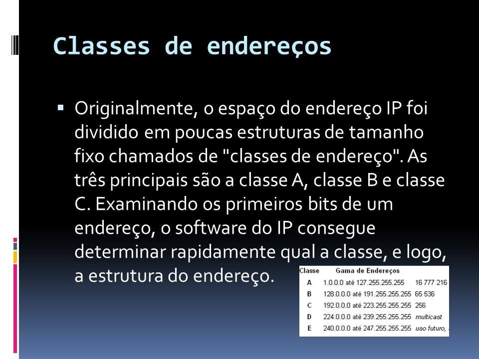 Classes de endereços  Originalmente, o espaço do endereço IP foi dividido em poucas estruturas de tamanho fixo chamados de classes de endereço .
