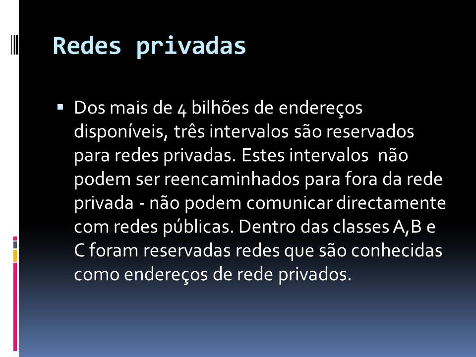 Redes privadas  Dos mais de 4 bilhões de endereços disponíveis, três intervalos são reservados para redes privadas.