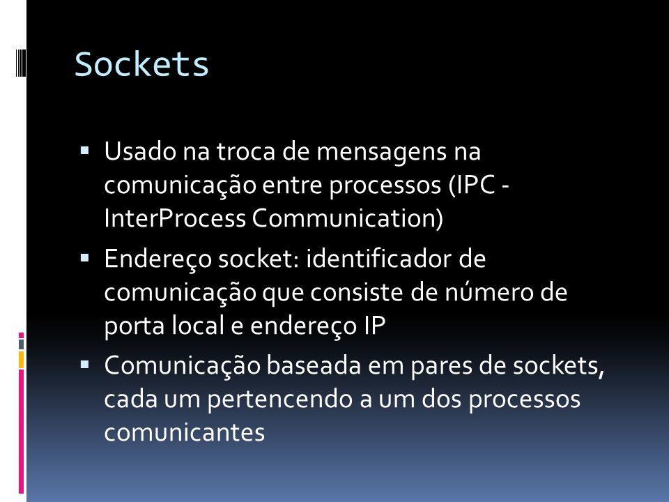 Sockets  Usado na troca de mensagens na comunicação entre processos (IPC - InterProcess Communication)  Endereço socket: identificador de comunicação que consiste de número de porta local e endereço IP  Comunicação baseada em pares de sockets, cada um pertencendo a um dos processos comunicantes