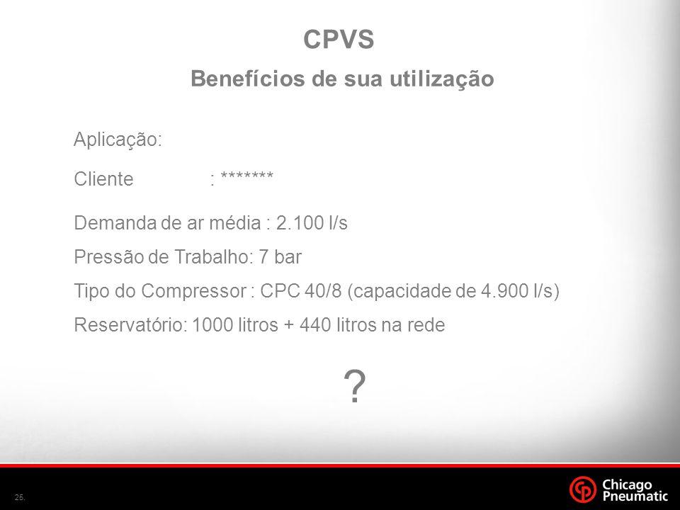 25. CPVS Aplicação: Cliente: ******* Demanda de ar média : 2.100 l/s Pressão de Trabalho: 7 bar Tipo do Compressor : CPC 40/8 (capacidade de 4.900 l/s
