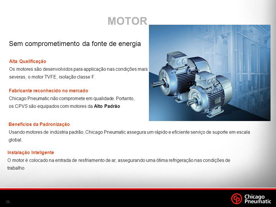 39. MOTOR Sem comprometimento da fonte de energia Alta Qualificação Os motores são desenvolvidos para applicação nas condições mais severas, o motor T