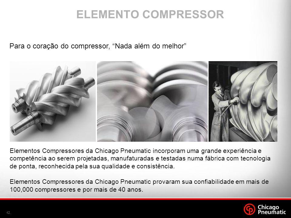 """42. ELEMENTO COMPRESSOR Para o coração do compressor, """"Nada além do melhor"""" Elementos Compressores da Chicago Pneumatic incorporam uma grande experiên"""