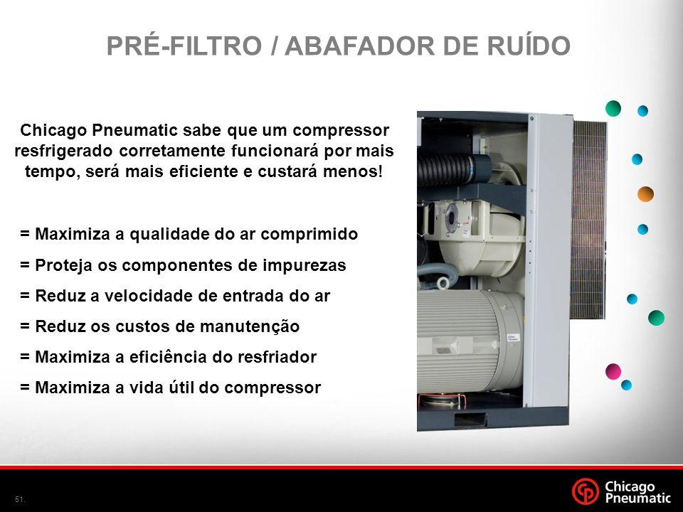 51. Chicago Pneumatic sabe que um compressor resfrigerado corretamente funcionará por mais tempo, será mais eficiente e custará menos! PRÉ-FILTRO / AB