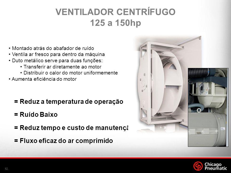 52. • Montado atrás do abafador de ruído • Ventila ar fresco para dentro da máquina • Duto metálico serve para duas funções: • Transferir ar diretamen