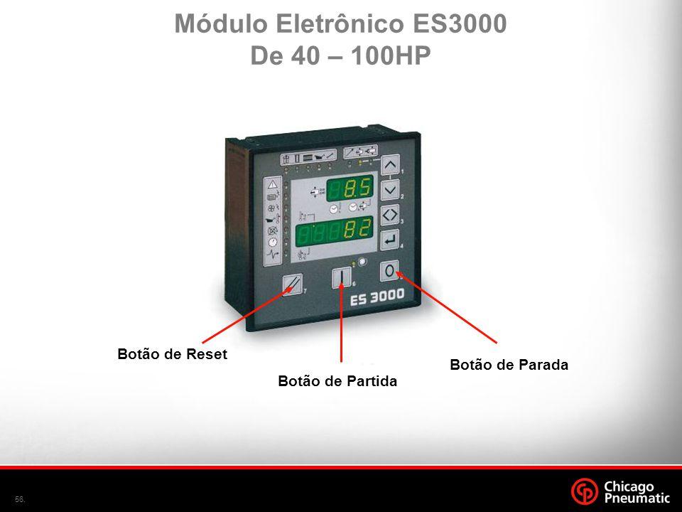 56. Botão de Reset Botão de Partida Botão de Parada Módulo Eletrônico ES3000 De 40 – 100HP