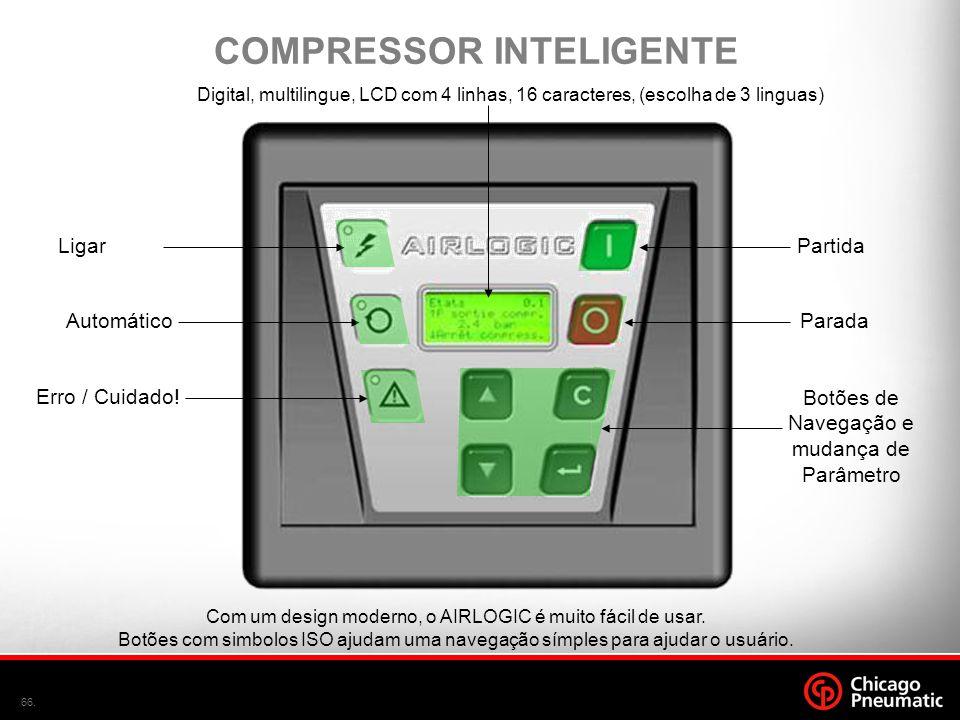 66. Com um design moderno, o AIRLOGIC é muito fácil de usar. Botões com simbolos ISO ajudam uma navegação símples para ajudar o usuário. Digital, mult