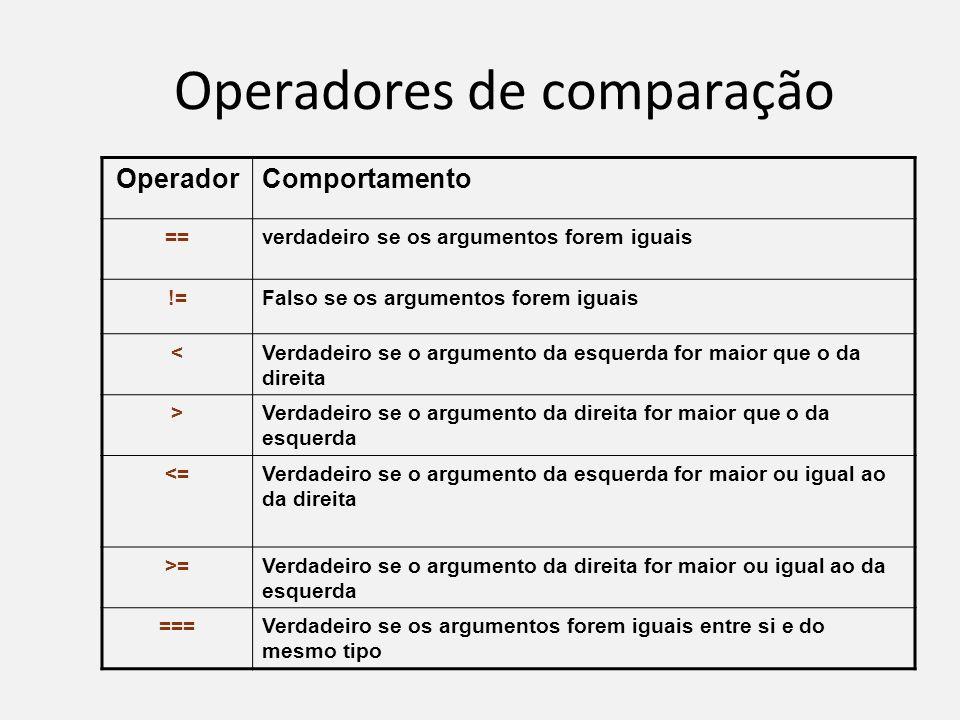 Operadores de comparação OperadorComportamento ==verdadeiro se os argumentos forem iguais !=Falso se os argumentos forem iguais <Verdadeiro se o argum