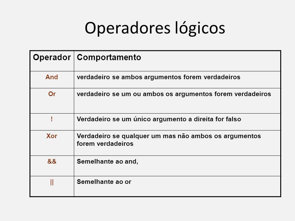 Operadores lógicos OperadorComportamento Andverdadeiro se ambos argumentos forem verdadeiros Orverdadeiro se um ou ambos os argumentos forem verdadeir