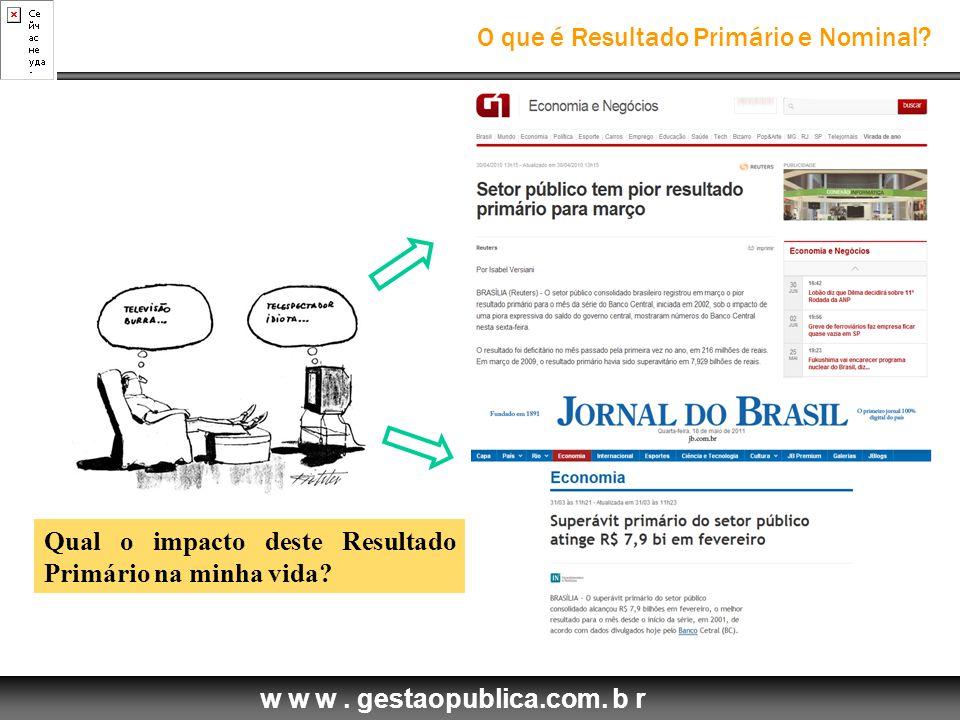 w w w.gestaopublica.com. b r O que é Resultado Primário e Nominal.
