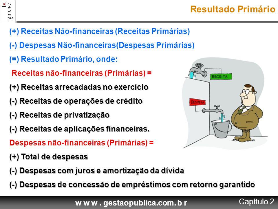 w w w. gestaopublica.com. b r (+) Receitas Não-financeiras (Receitas Primárias) (-) Despesas Não-financeiras(Despesas Primárias) (=) Resultado Primári