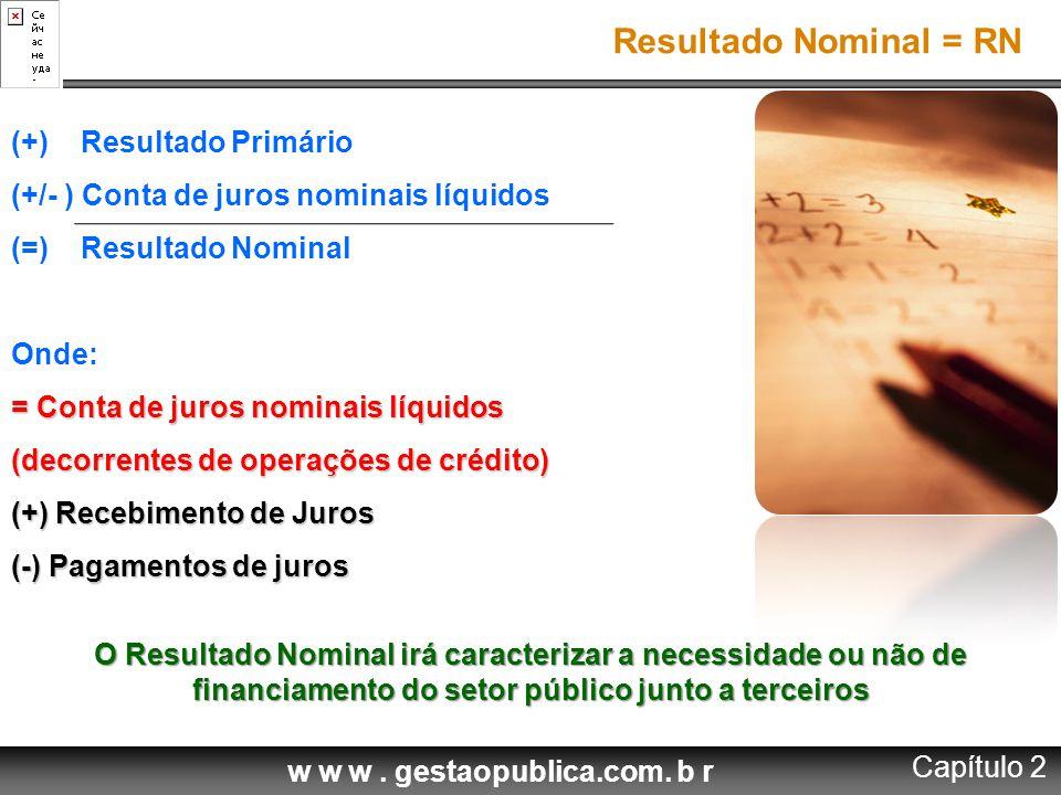 w w w. gestaopublica.com. b r (+) Resultado Primário (+/- ) Conta de juros nominais líquidos (=) Resultado Nominal Onde: = Conta de juros nominais líq