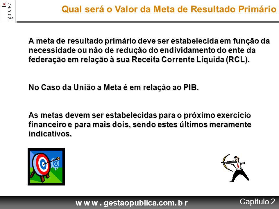 w w w. gestaopublica.com. b r A meta de resultado primário deve ser estabelecida em função da necessidade ou não de redução do endividamento do ente d