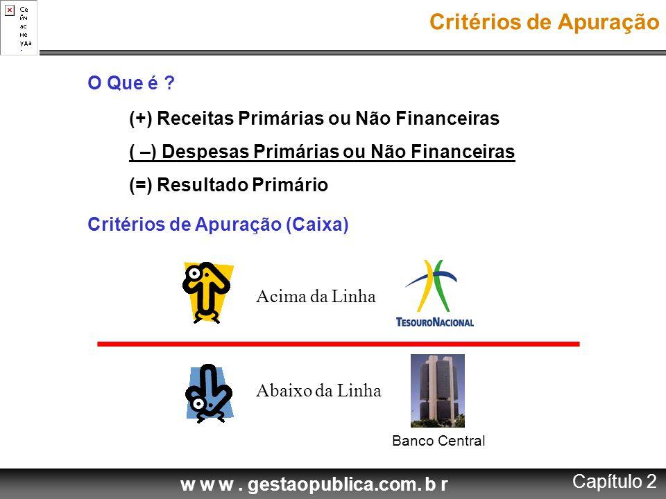 w w w. gestaopublica.com. b r O Que é ? (+) Receitas Primárias ou Não Financeiras ( –) Despesas Primárias ou Não Financeiras (=) Resultado Primário Cr