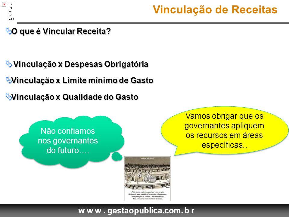 w w w.gestaopublica.com. b r Vinculação de Receitas  O que é Vincular Receita.