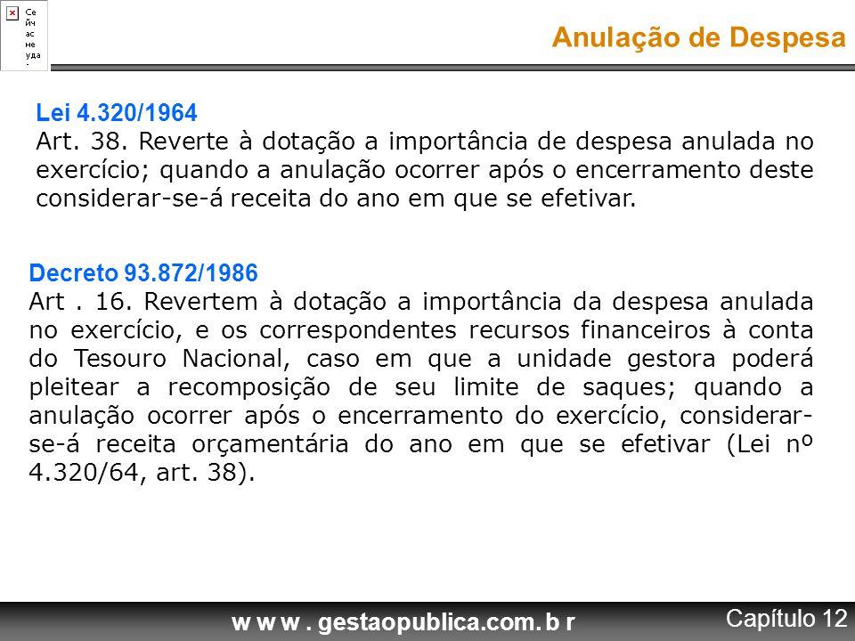 w w w.gestaopublica.com. b r Anulação de Despesa Lei 4.320/1964 Art.