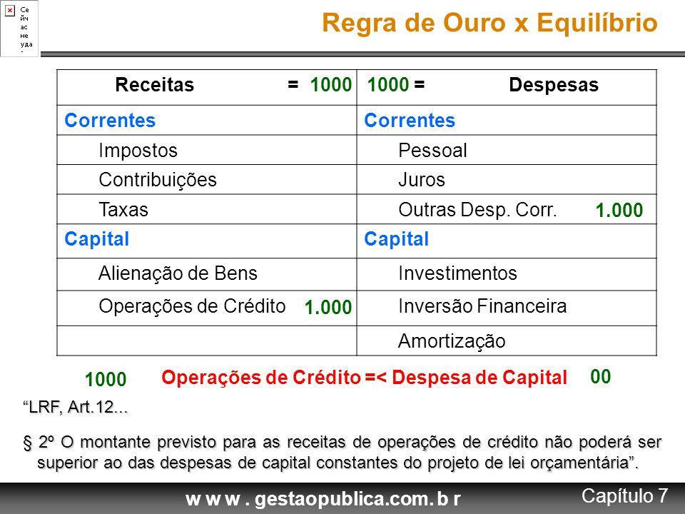 w w w. gestaopublica.com. b r Receitas == Despesas Correntes ImpostosPessoal ContribuiçõesJuros TaxasOutras Desp. Corr. Capital Alienação de BensInves