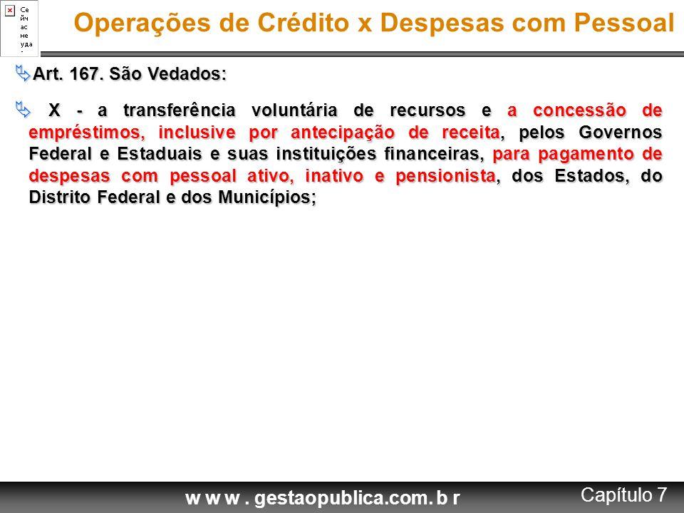 w w w. gestaopublica.com. b r Operações de Crédito x Despesas com Pessoal  Art. 167. São Vedados:  X - a transferência voluntária de recursos e a co
