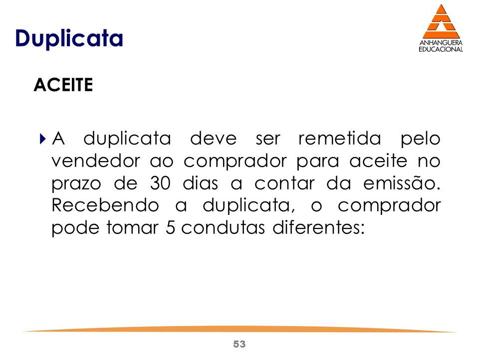 53 Duplicata ACEITE  A duplicata deve ser remetida pelo vendedor ao comprador para aceite no prazo de 30 dias a contar da emissão. Recebendo a duplic